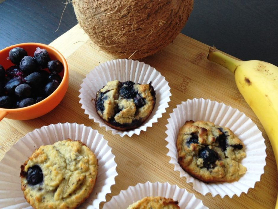 Healthy Blueberry Coconut Muffins