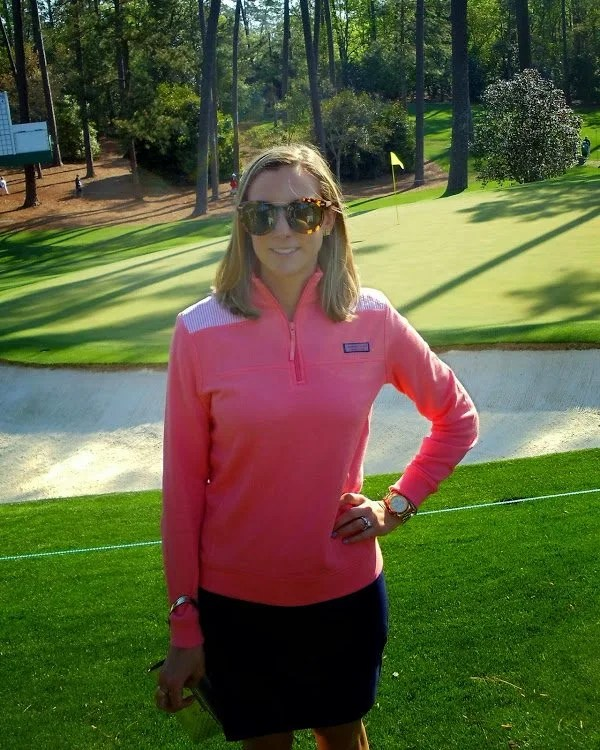 pink golf outfit at Masters