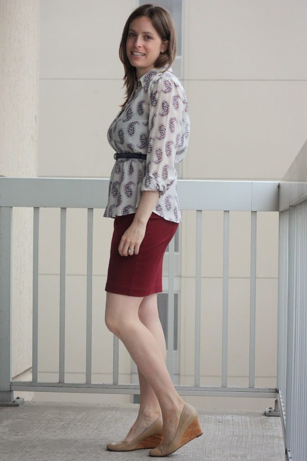 red pencil skirt and paisley belted blouse