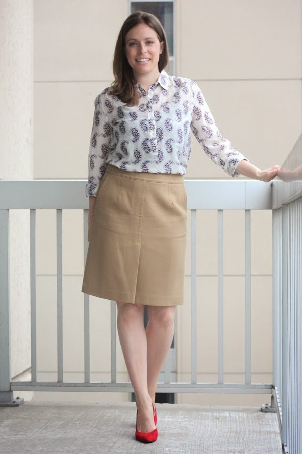 paisley print blouse remix, with camel skirt, for work - www.honestlymodern.com