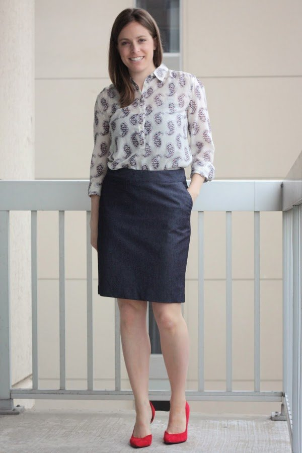 paisley print blouse remix, with navy skirt, for work - www.honestlymodern.com