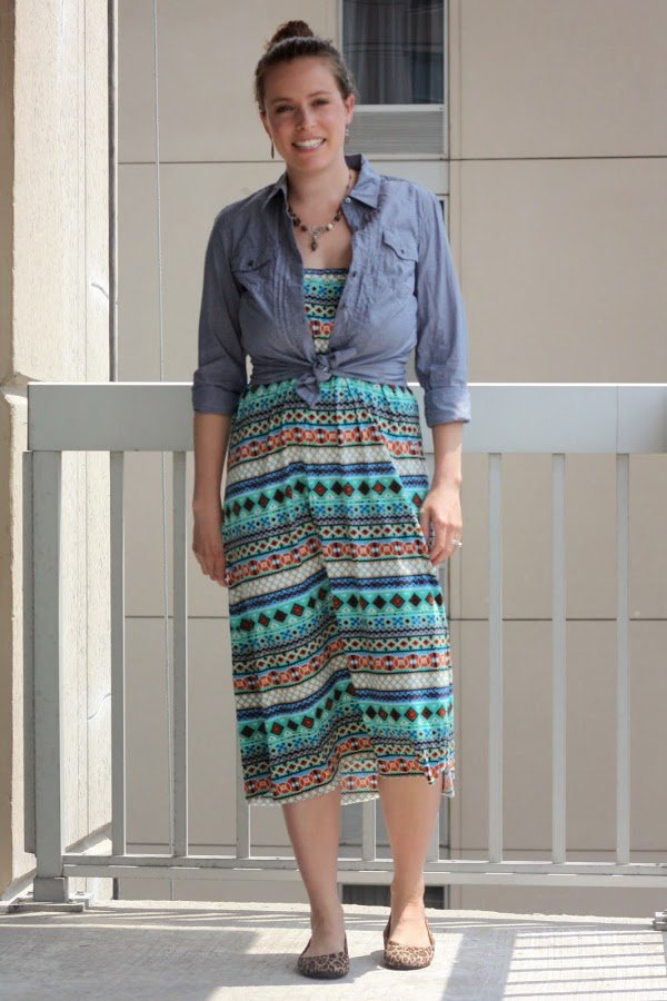 chambray, DIY maxi skirt as dress, necklace, leopard flats