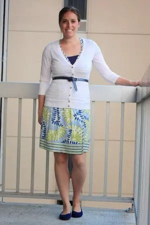 white cardigan, blue and green floral wrap dress, navy shoes