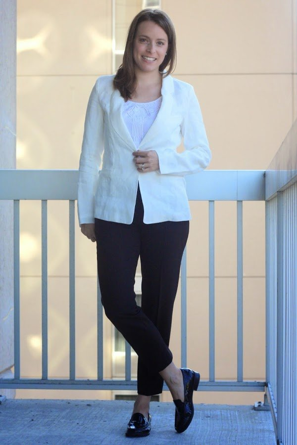 white Marine Layer blazer, black Theory pants, black women's loafers