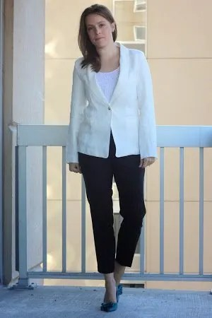 white Marine Layer blazer, black Theory pants, teal Jimmy Choo heels for work, women's office style