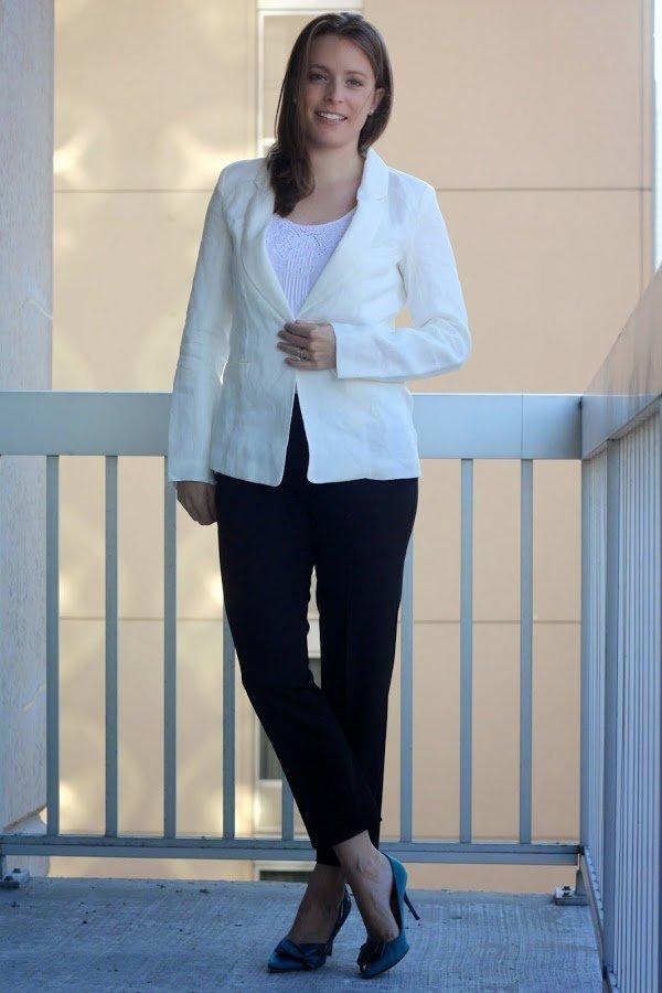 white Marine Layer blazer, black Theory pants, teal Jimmy Choo heels for work, women's office style