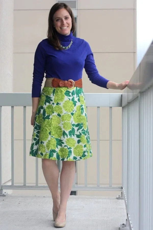 Coldwater Creek thrifted shirt from Savers, thrifted Boden green floral dress from Savers, thrifted belt and Nine West wedges - wear to work - www.honestlymodern.com
