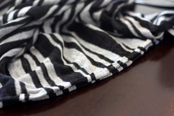 gray and black striped knit fabric - DIY infinity scarf tutorial - www.honestlymodern.com