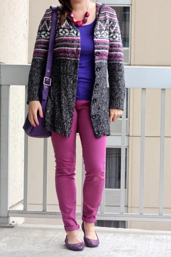 long sweater, pink and purple and gray sweater, bright colors for fall, cole haan flats, coach purse, DIY necklace - casual outfit - www.honestlymodern.com
