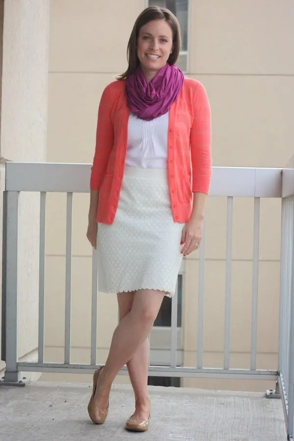 white thrifted skirt, white WHBM blouse, orange neon cardigan, DIY magenta scarf - wear to work, office - www.honestlymodern.com