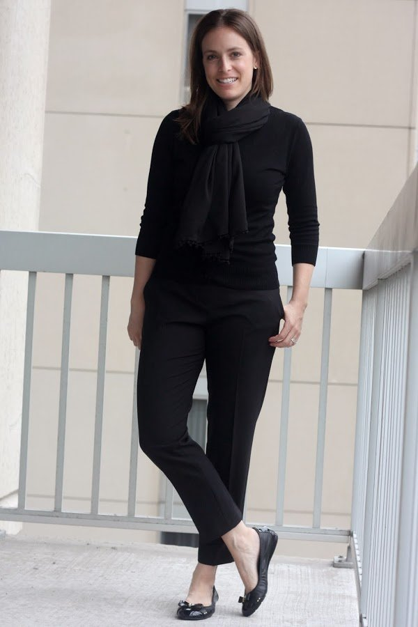 all black outfit for the office, theory pants, black cardigan and scarf, black cole haan flats - www.honestlymodern.com
