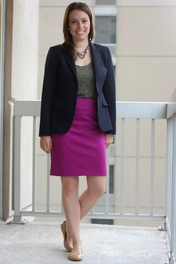navy thrifted blazer, olive tank and pink skirt - wear to work, office - www.honestlymodern.com