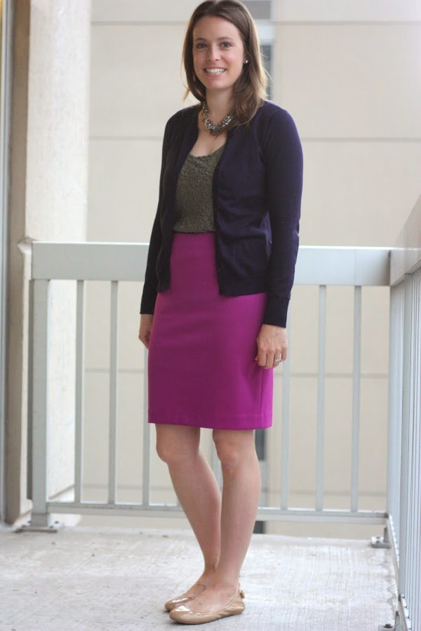 navy cardigan, olive tanks and pink skirt - wear to work, office - www.honestlymodern.com