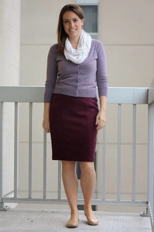 maroon skirt, lavendar cardigan and scarf with nude flats - fall without tights - www.honestlymodern.com
