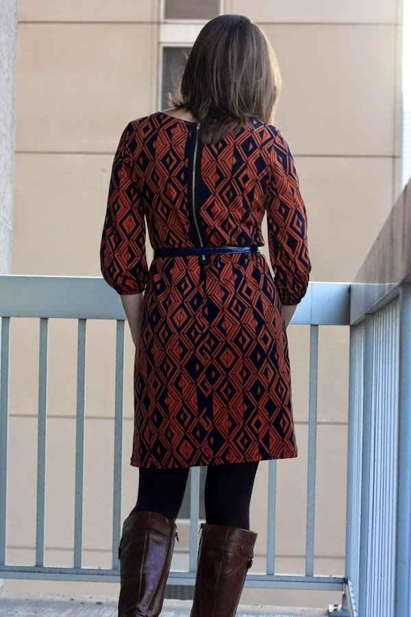 orange and navy dress sheath dress with exposed back zipper; worn with belt, tights, and boots - wear to work, office - www.honestlymodern.com
