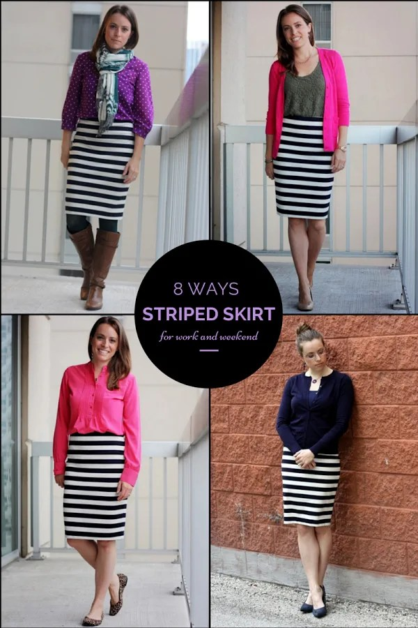 8 ways to wear a striped skirt for work and weekend - www.honestlymodern.com
