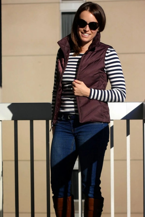 navy and white stripes, jeans, cognac boots, and sunglasses | casual weekend, mom style | www.honestlymodern.com