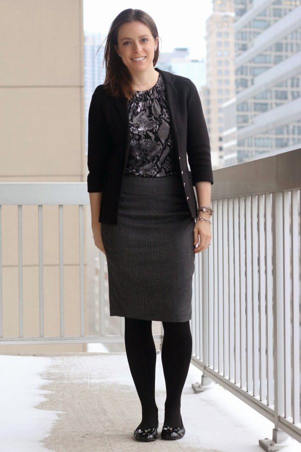 FashionablyEmployed.com | Monochromatic gray and black style, outfit | black sweater blazer, reptile print blouse, gray skirt, black tights and black flats | wear to work, office | style blogger, winter style