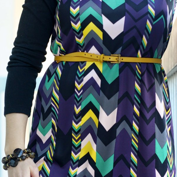 FashionablyEmployed.com | Missoni chevron dress with purple tights, black wool coat and cognac boots for fall or winter, wear to work style
