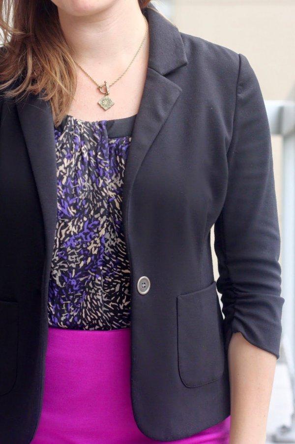 FashionablyEmployed.com | Dark Floral with a pop of magenta to brighten up winter style at work
