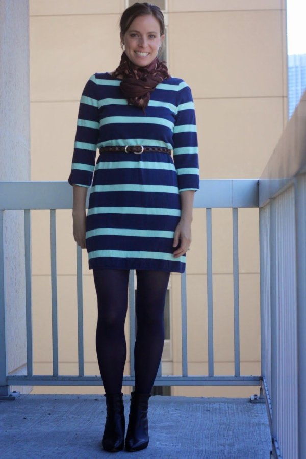 FashionablyEmployed.com | Navy and mint striped dress with brown accessories (belt, tights, scarf, and booties) for fall / winter style, work or casual wear