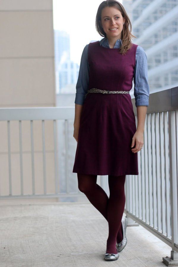 FashionablyEmployed.com | 5 Simple Style Tips: Inspiration to Execution | marsala dress and chambray shirt with silver belt and silver flats | wear to work outfit, office style