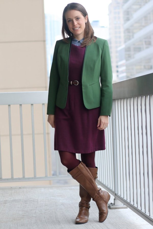 FashionablyEmployed.com | Burgundy dress and tights with chambray shirt and cognac boots, green blazer | wear to work outfit, office style
