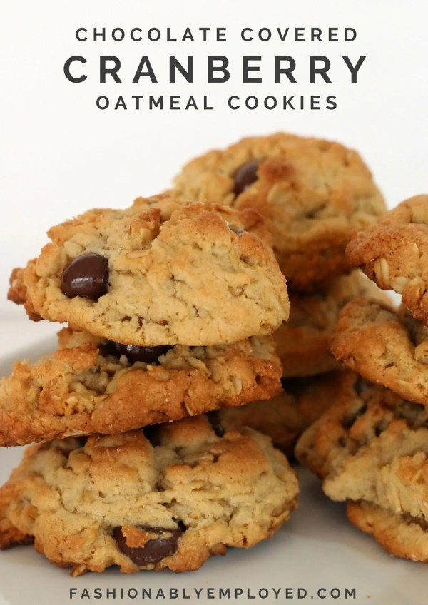 FashionablyEmployed.com | Chocolate covered cranberry oatmeal cookies at my March Mani Madness party | snack ideas for girls' night party