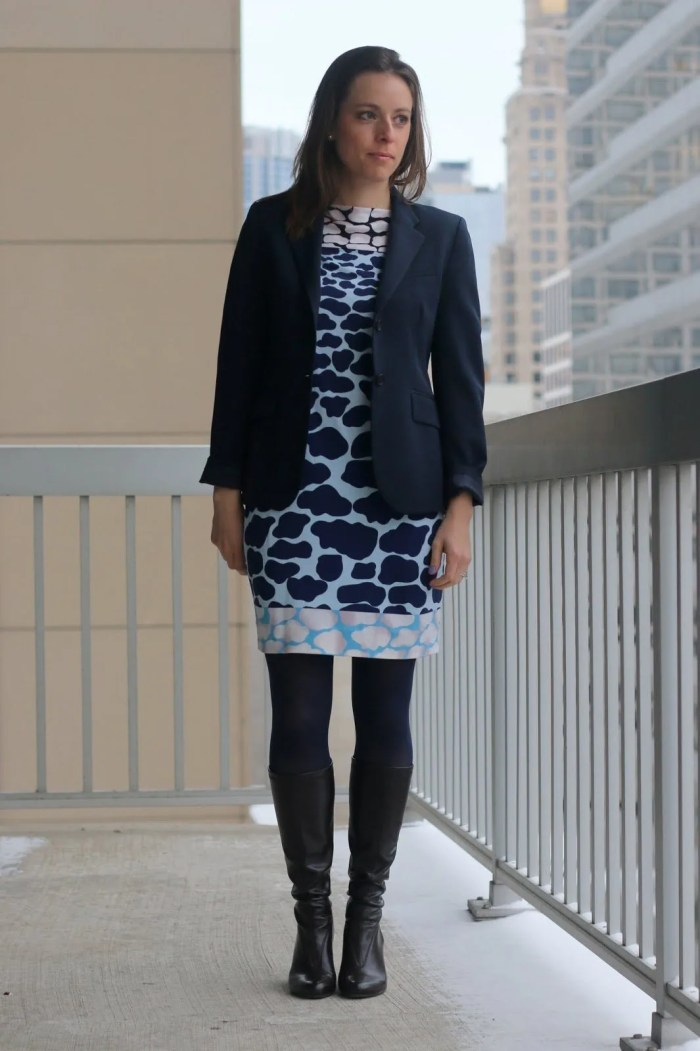 FashionablyEmployed.com | Thrifted giraffe print DVF dress, thrifted navy blazer, navy tights and brown boots, expert thrifting tips from seasoned thrifters, wear to work office style