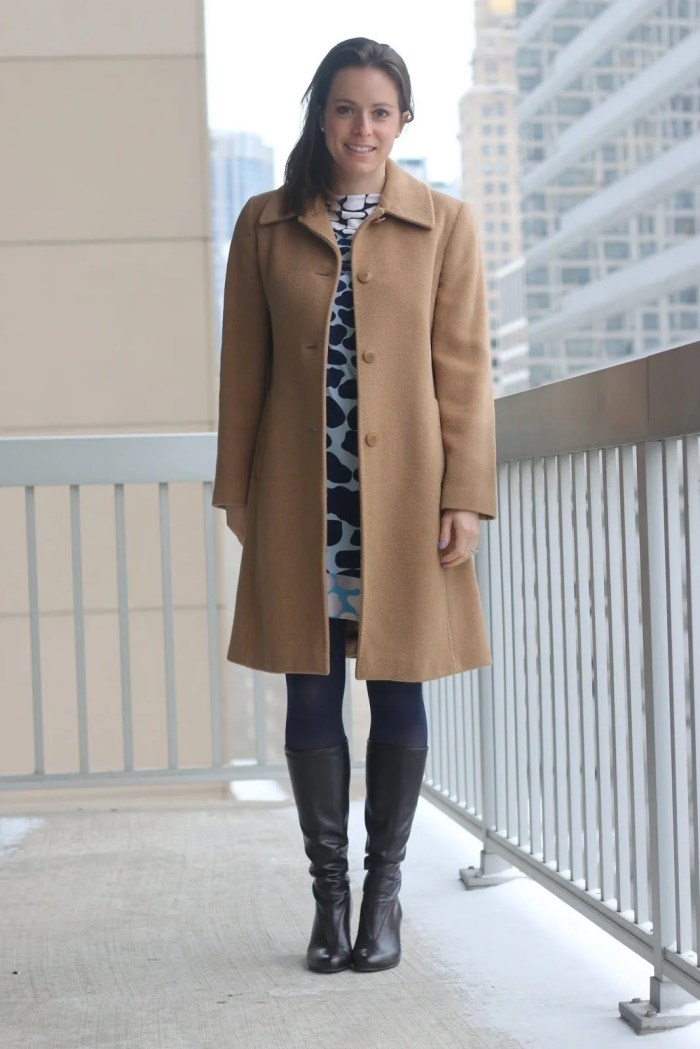FashionablyEmployed.com | Thrifted giraffe print DVF dress, thrifted camel hair coat, navy tights and brown boots, expert thrifting tips from seasoned thrifters, wear to work office style
