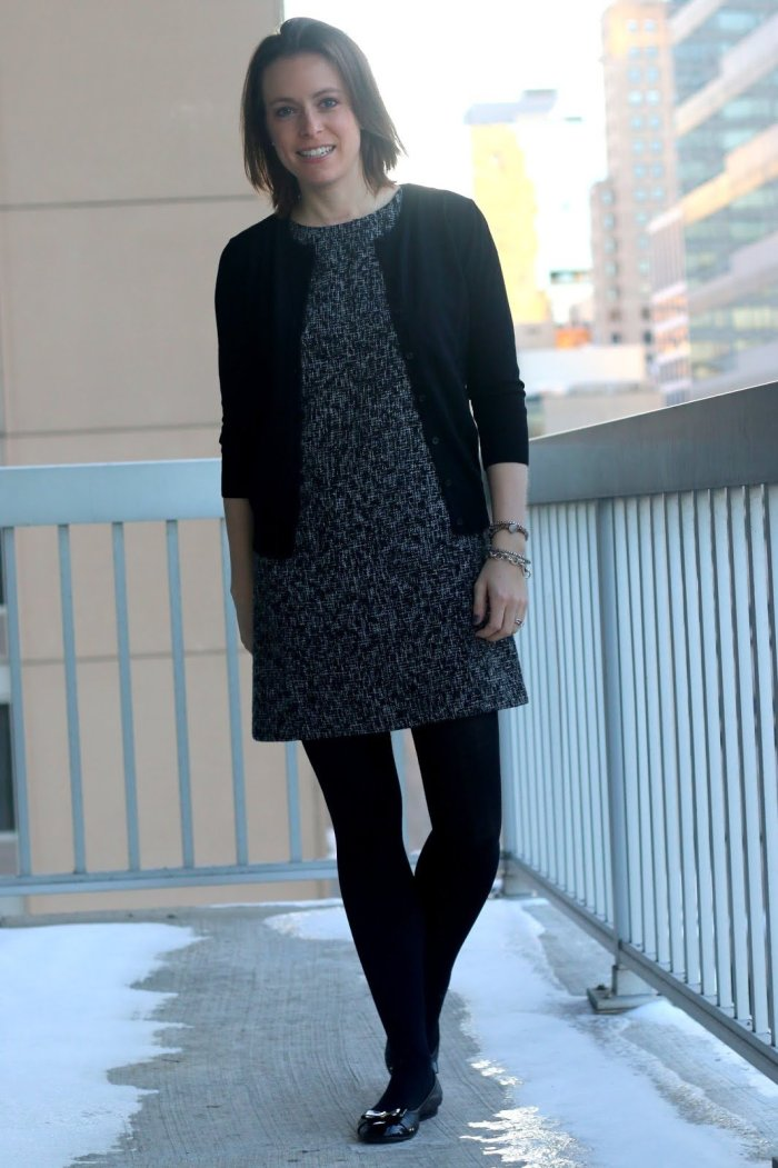 FashionablyEmployed.com | Black tweed shift dress with black cardigan, black tights and shoes | wear to work outfit, office style, business casual | life & style blog