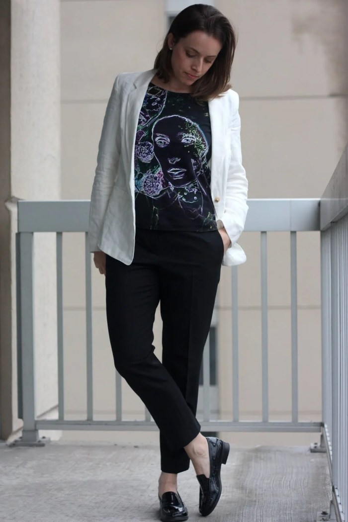 FashionablyEmployed.com | Black pants, White linen blazer and art as style shirt | wear to work outfit, office style, corporate chic
