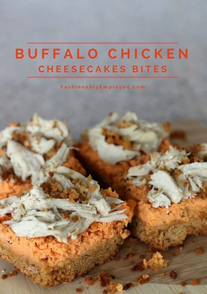FashionablyEmployed.com | Recipe, Game Day appetizer, Buffalo Chicken Cheesecake Bites, savory quick and easy snack