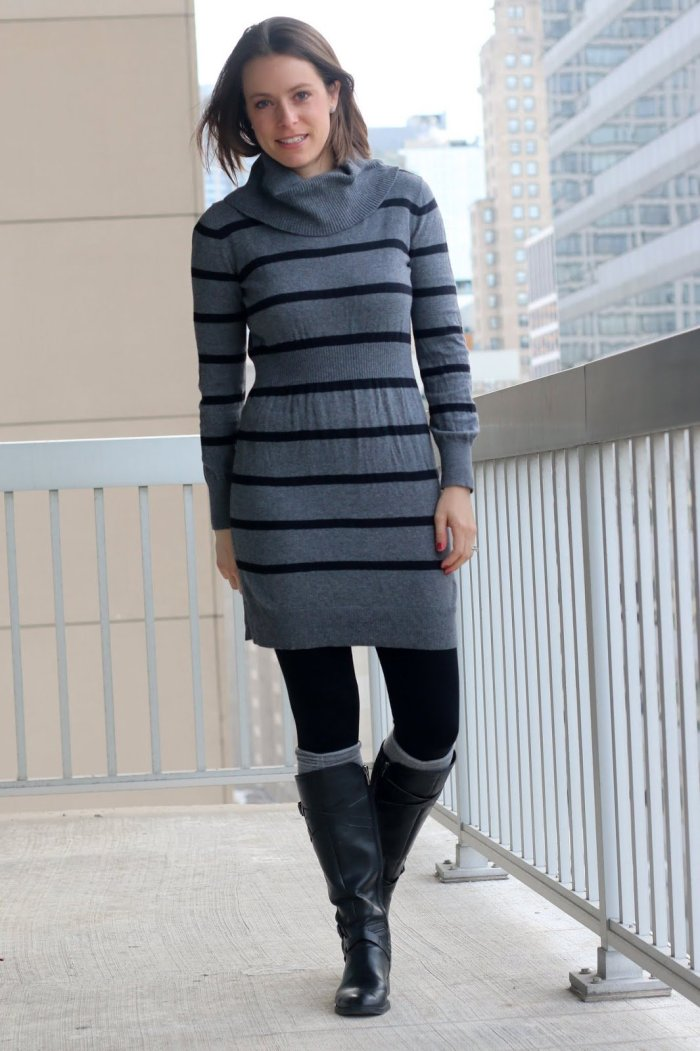 FashionablyEmployed.com | black and gray striped sweater dress with black tights, gray boot socks, and black flat boots | business casual outfit, wear to work style, office attire