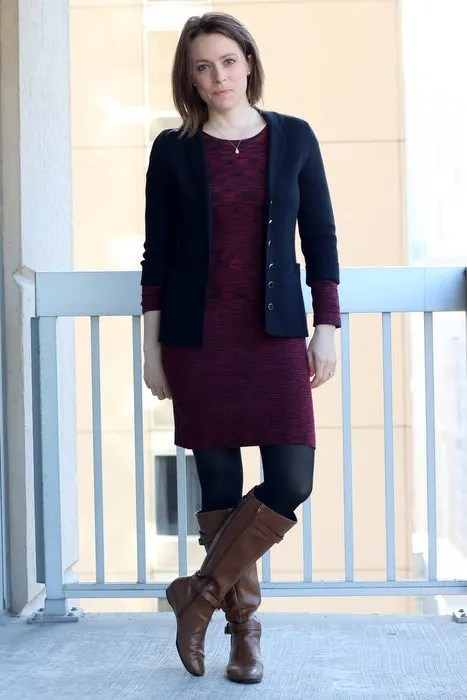 FashionablyEmployed.com | Work Day to Date Night Sweater Dress and Boots | black blazer, maroon sweater dress, black tights and cognac boots | wear to work, office style outfit, dinner date or weekend style