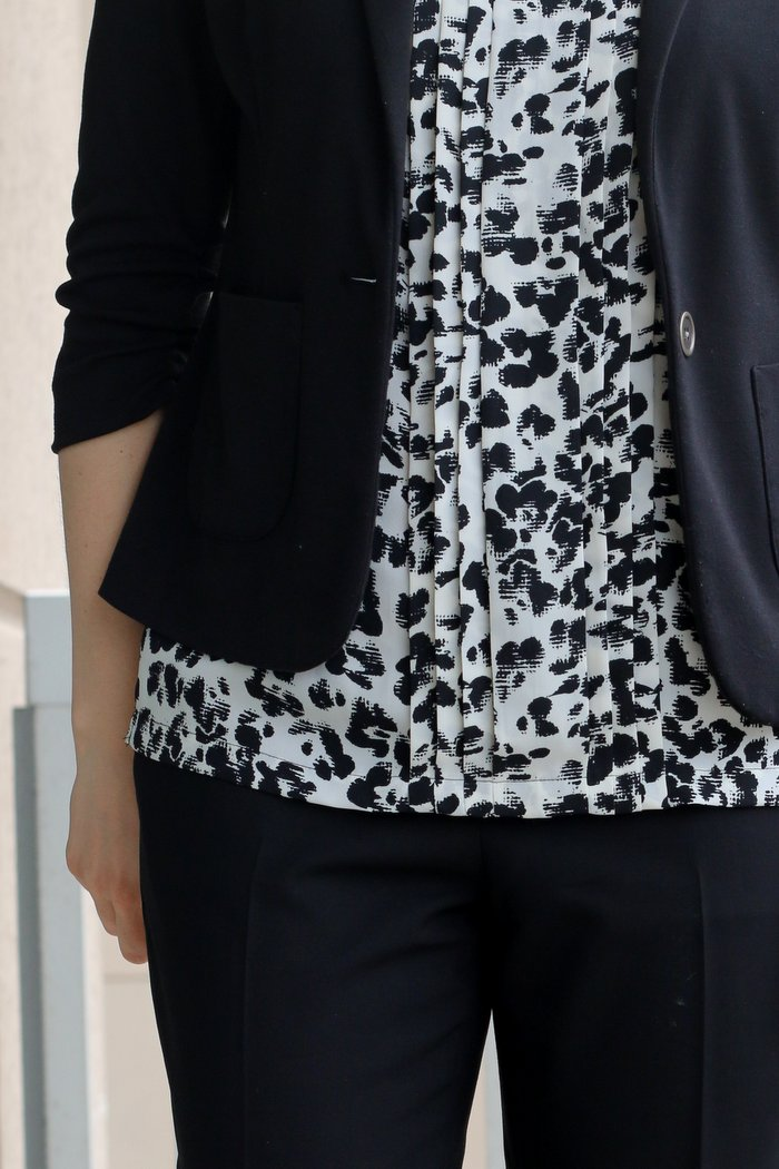 FashionablyEmployed.com   Everyday style for working women   Black and white blouse with black blazer and black trousers for a simple chic look to wear to work, office or work outfit