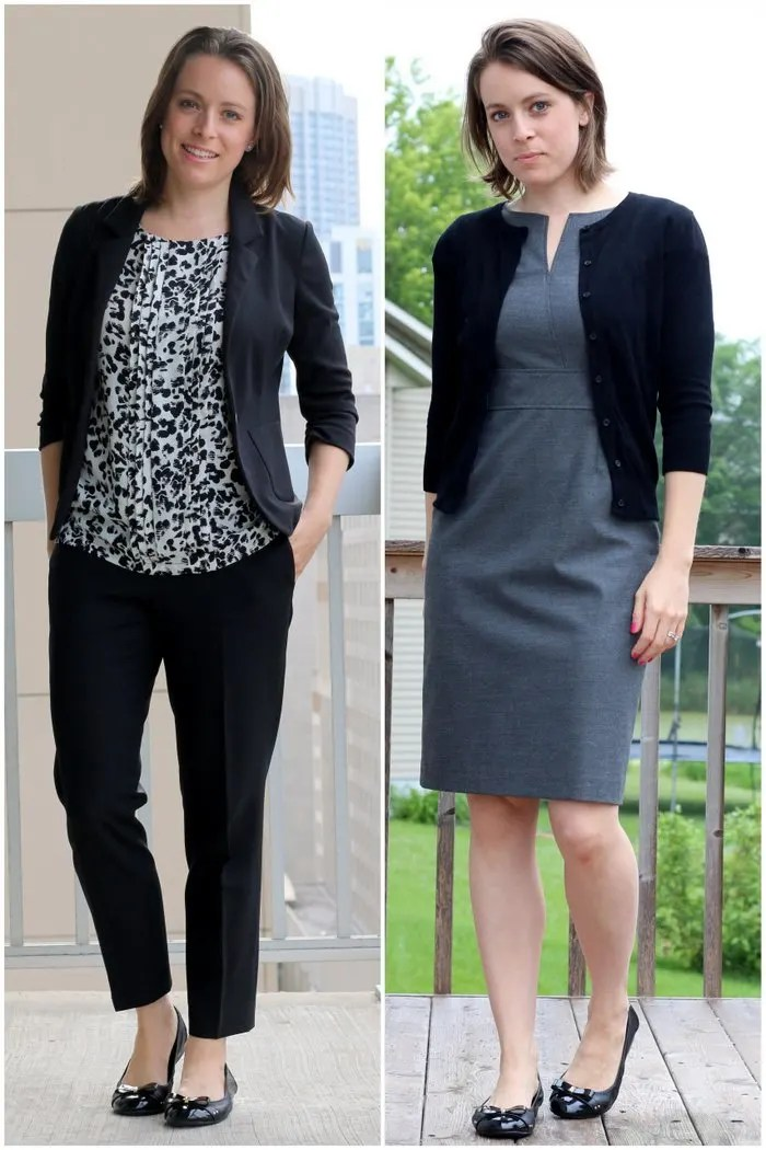 FashionablyEmployed.com   Everyday style for working moms   Black white and gray make a very simple yet chic color palette to streamline busy mornings without sacrificing style, office attire, work outfit, two outfits to wear to work