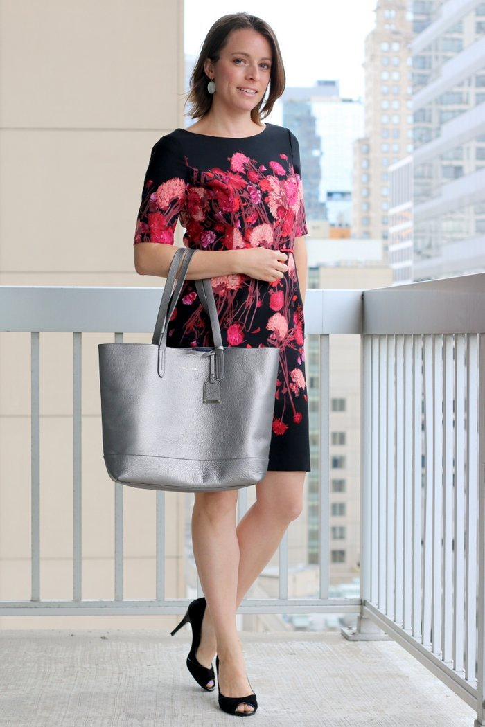 FashionablyEmployed.com | Black and pink floral sheath dress with DIY alternations, silver Cole Haan tote, and black open toe heels | Working mom, wear to work style blog