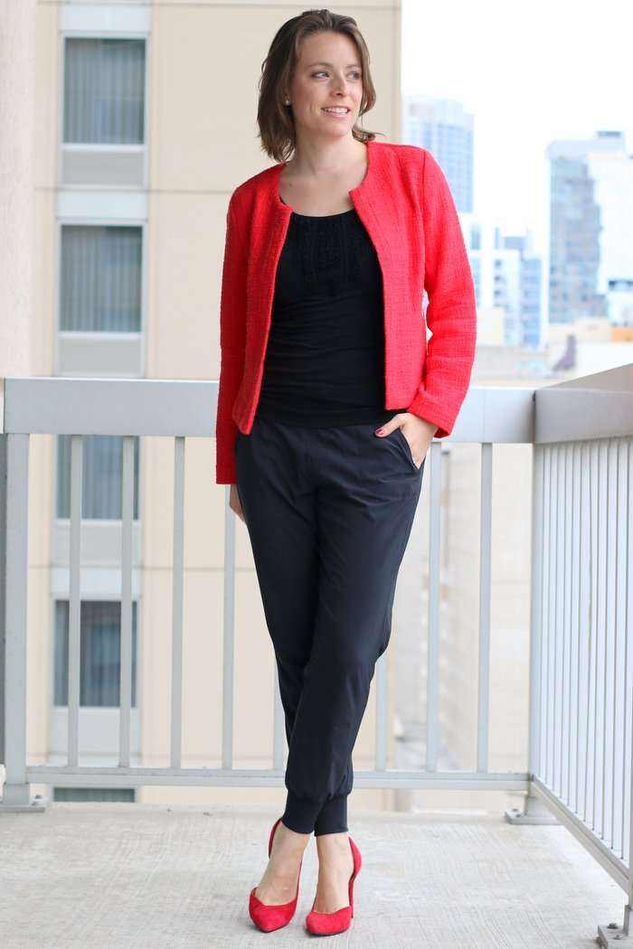FashionablyEmployed.com | Simple, chic style for the everyday professional woman | Red blazer with black blouse and black pants with red heels, joggers at work | perfect for work, office style for women