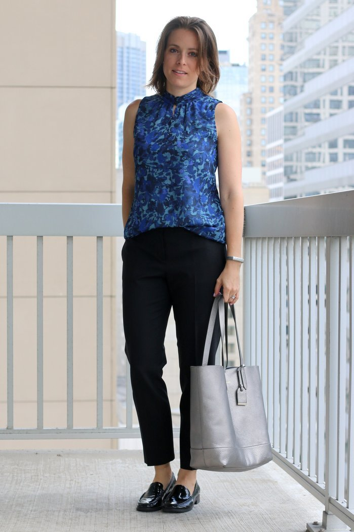 FashionablyEmployed.com | Simple, sustainable, chic style for the everyday professional woman | Black pants with blue floral blouse, black blazer and black loafers, menswear inspired women's office style | perfect for work, office style for women