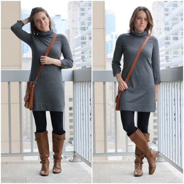 FashionablyEmployed.com | Thrifted gray sweater dress, black tights, cognac boots and crossbody bag | Simple and sustainable style for everyday professional women | wear to work style, office outfit ideas, women's workwear