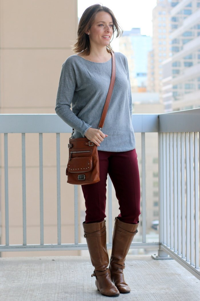 FashionablyEmployed.com | Gray sweater, maroon pants, cognac boots and crossbody bag | Simple and sustainable style for everyday professional women | casual Friday, wear to work, weekend style