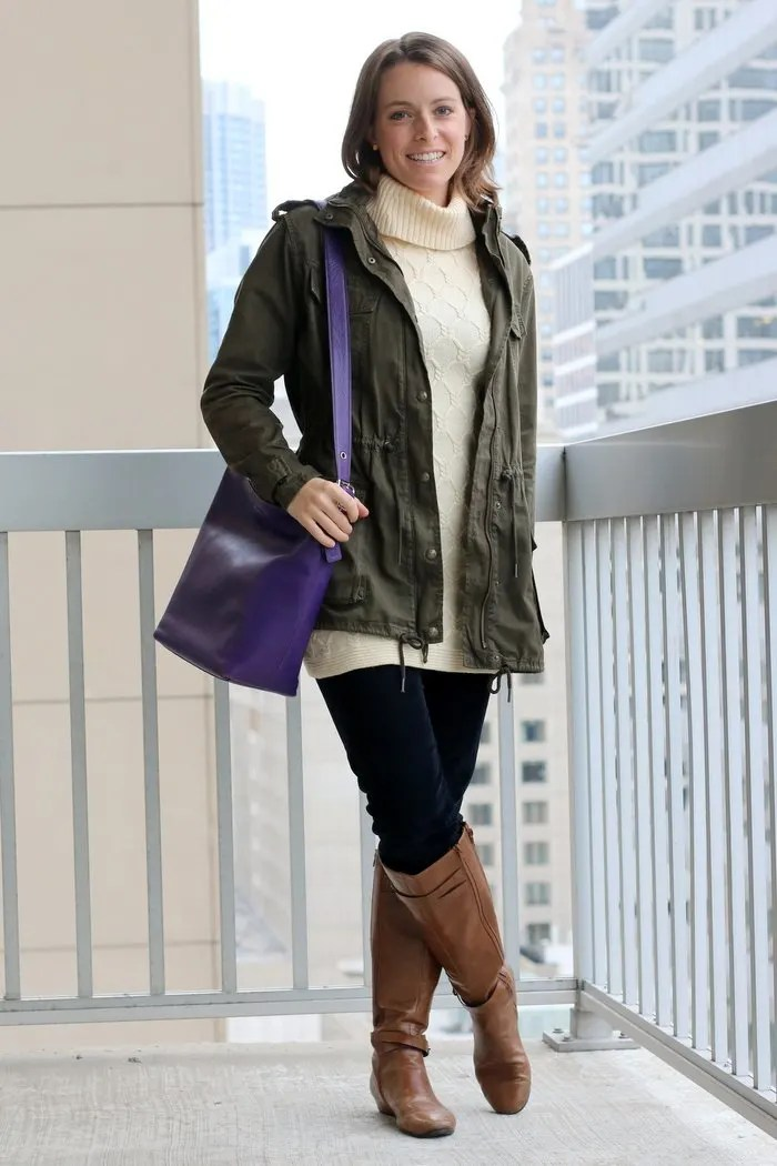FashionablyEmployed.com | Girls weekend in Chicago | Life and Style blog for everyday professional women | Cream sweater with navy corduroy pants, military jacket and cognac boots, casual fall style for weekend with friends