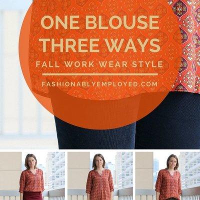 Orange Patterned Fall Blouse Styled 3 Ways
