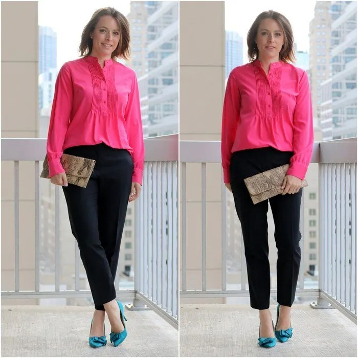 FashionablyEmployed.com | Pink blouse, black ankle pants and teal heels for wear to work style | Simple and sustainable style for everyday professional women | wear to work style, office style, work outfit