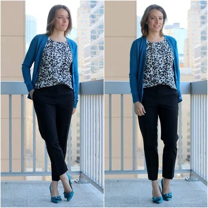 FashionablyEmployed.com | Black and white printed blouse with teal cardigan and teal heels for wear to work style | Simple and sustainable style for everyday professional women | wear to work style, office style, work outfit