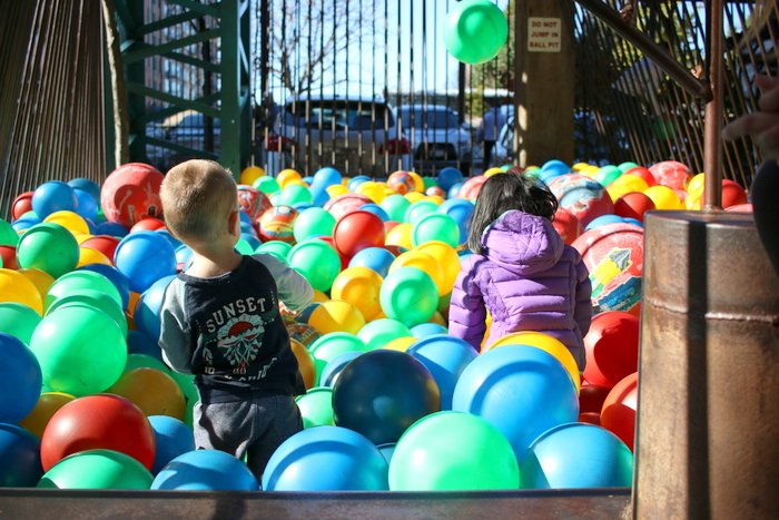 Exploring the City Museum in St. Louis | Throwing balls in the giant ball pit