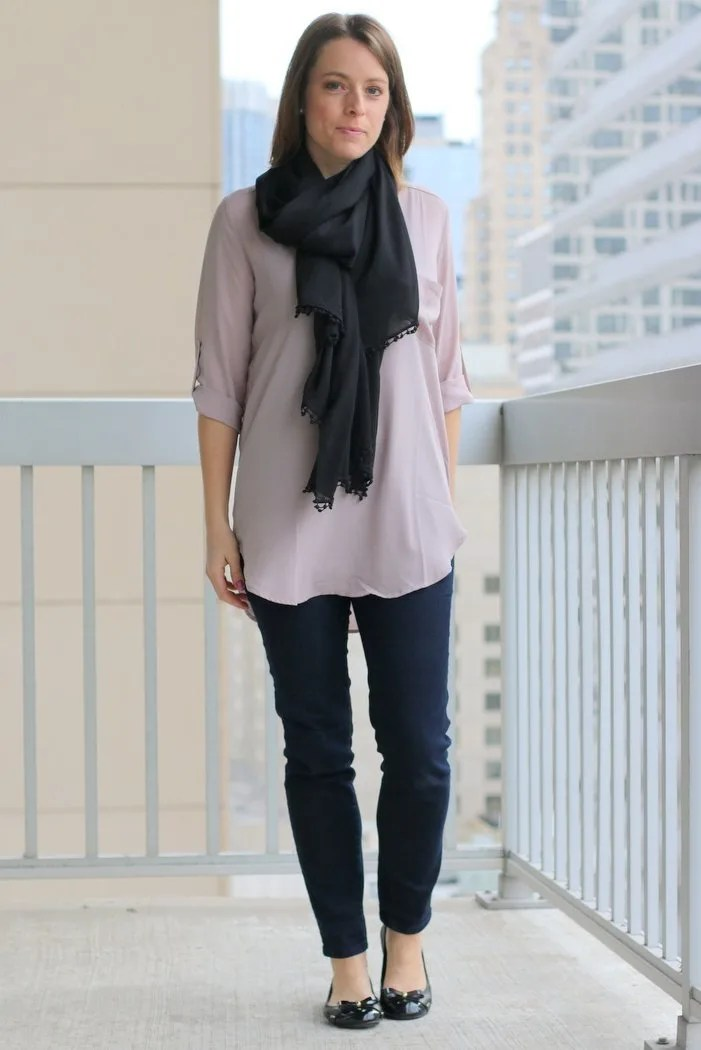FashionablyEmployed.com | pink blouse with black scarf, jeans and black flats, anorak and rain boots to transition to cooler weather | Simple and sustainable style for everyday professional women |wear to work, casual Friday, fall style, office style