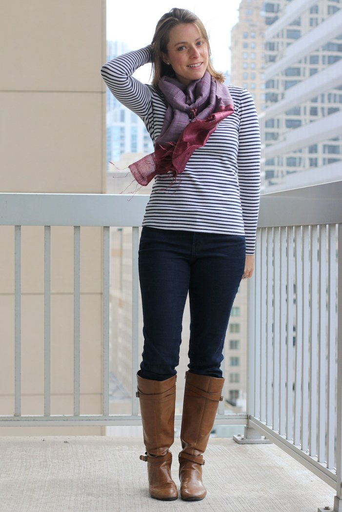 FashionablyEmployed.com | Thrifted stripe shirt, jeans, cognac boots and fair trade scarf | Simple and sustainble style for everyday professional women | wear to work, office style, ethical style