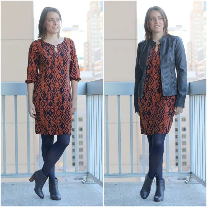 FashionablyEmployed.com | Orange and navy dress with gray blazer or jacket, work to weekend transition style, navy tights and gray boots | wear to work, office style, working mom